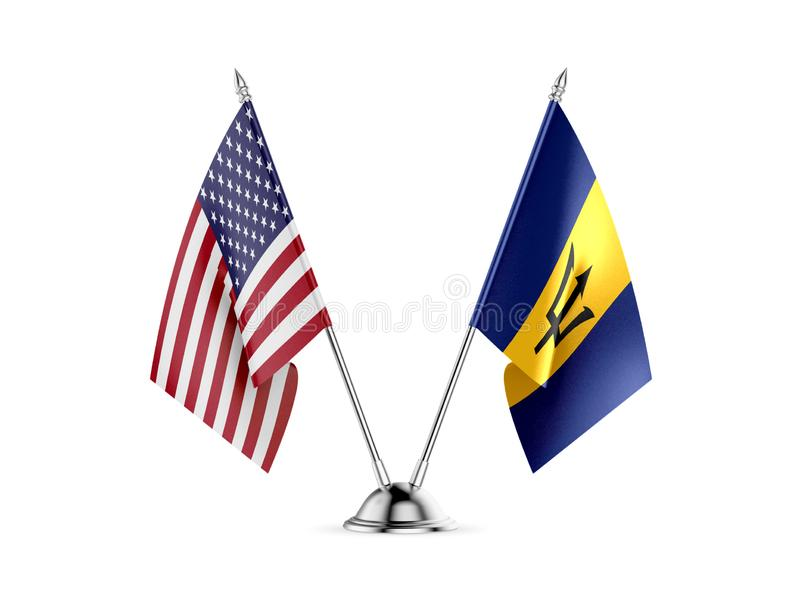 Table flags, United States America and Barbados, isolated on white background. 3d image vector illustration