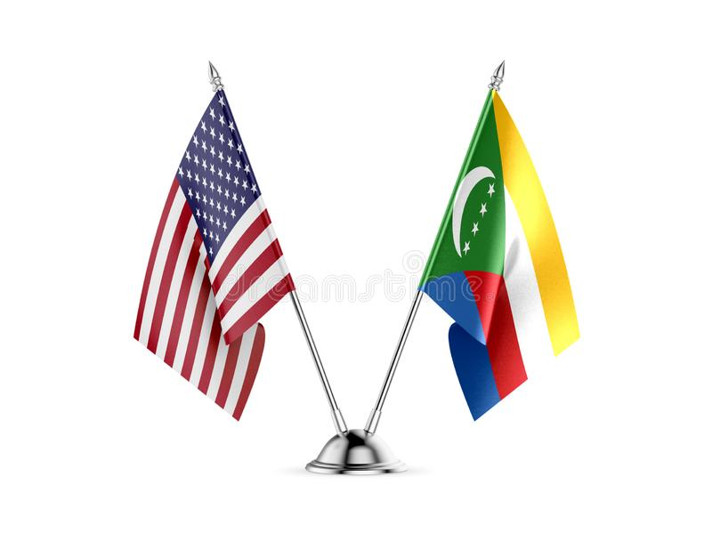 Table flags, United States  America  and Comoros, isolated on white background. 3d image-Recovered stock illustration