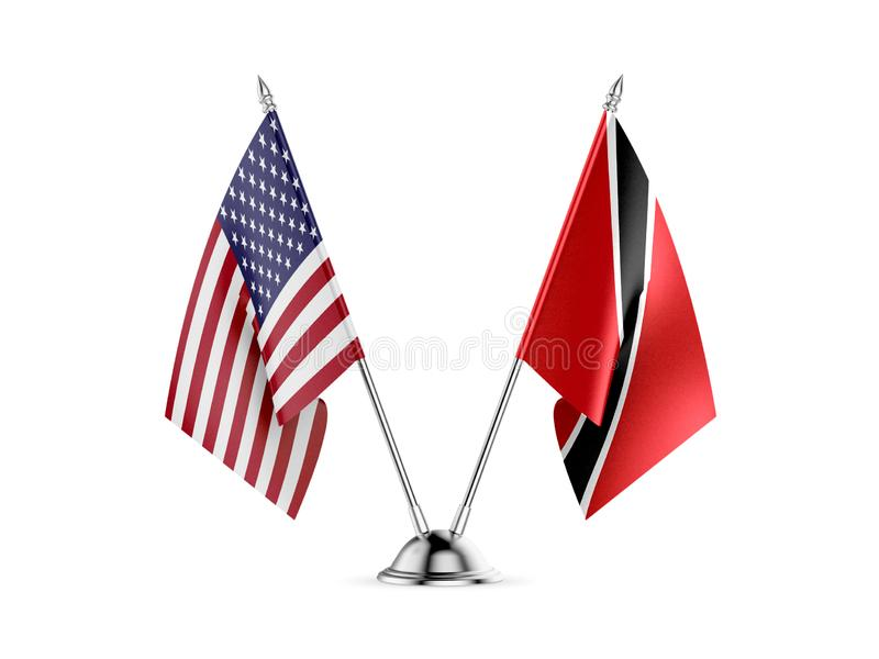 Table flags, United States  America  and Trinidad and Tobago, isolated on white background. 3d image royalty free illustration