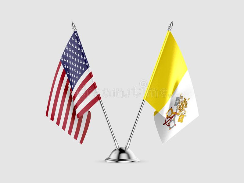 Table flags, United States  America  and Vatican City, isolated on white background. 3d image royalty free illustration