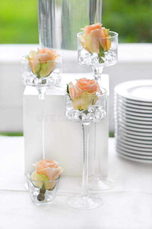 Table flower decoration for wedding. Tables decorated for a party or wedding reception stock photos
