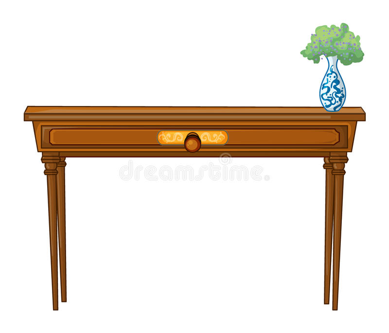 A table and a flowerpot. Illustration of a table and a flowerpot on a white background vector illustration