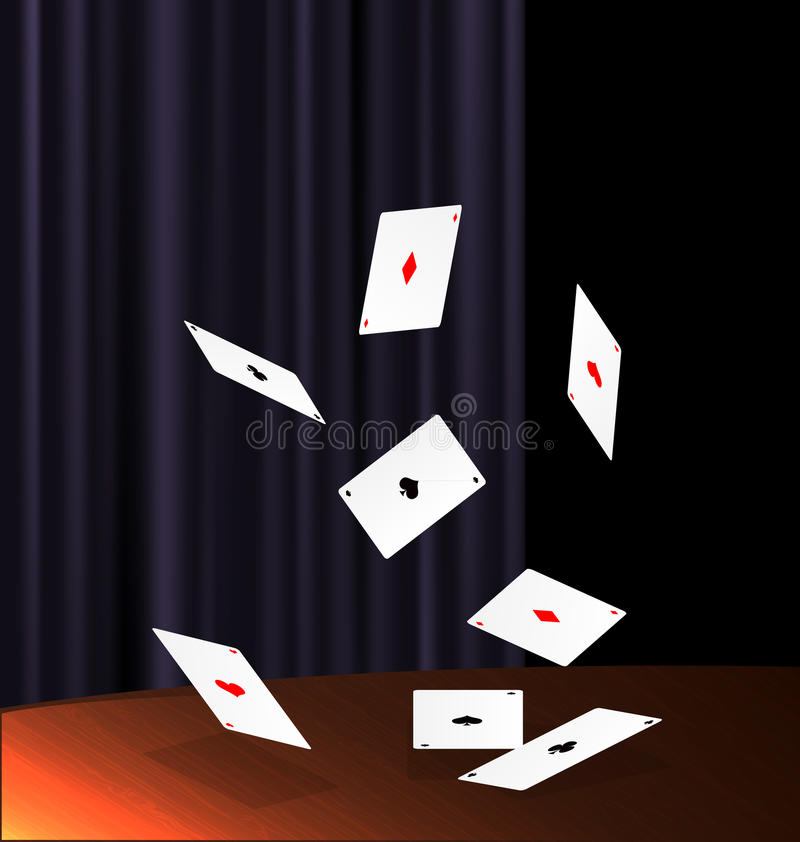 Table and flying cards vector illustration