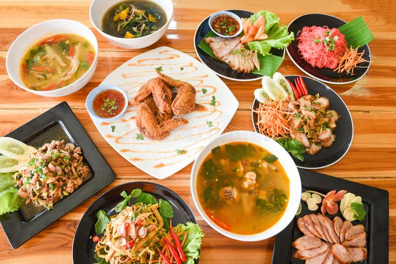 Table food served on plate / Tradition northeast food Isaan delicious on plate with fresh vegetables - Many variety various Thai royalty free stock images