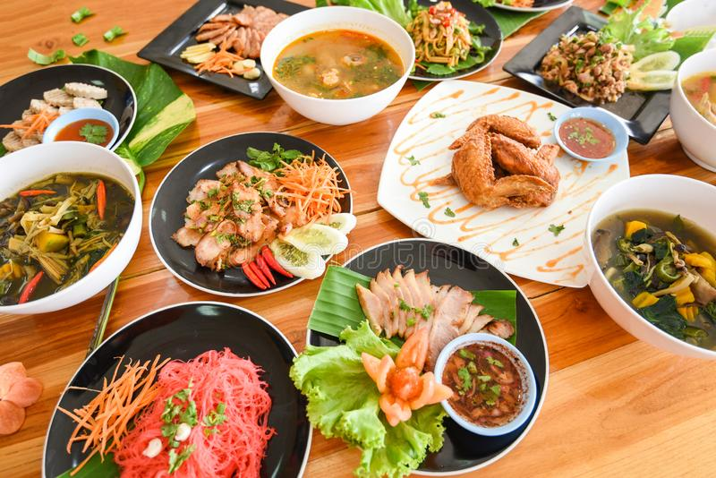 Table food served on plate / Tradition northeast food Isaan delicious on plate with fresh vegetables - Many variety various Thai stock images