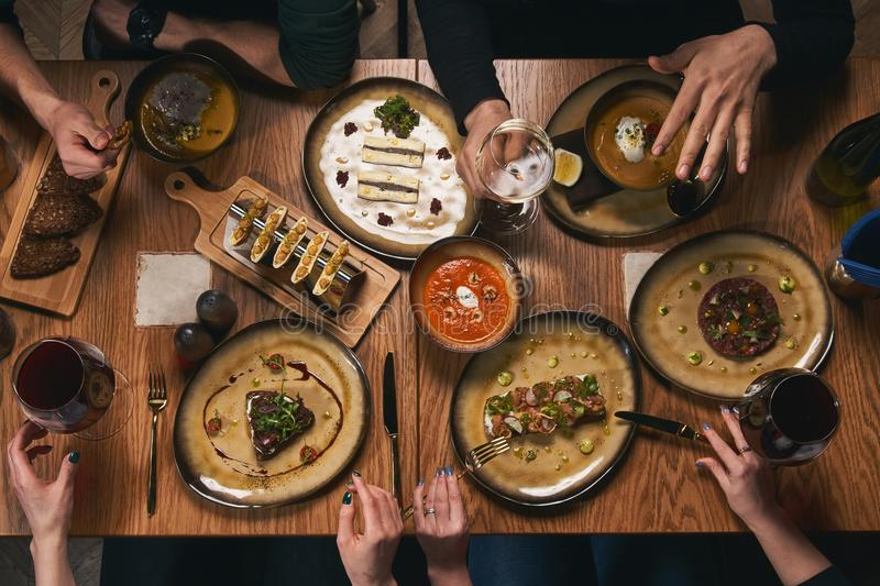 Table with food, view from above. stock photography