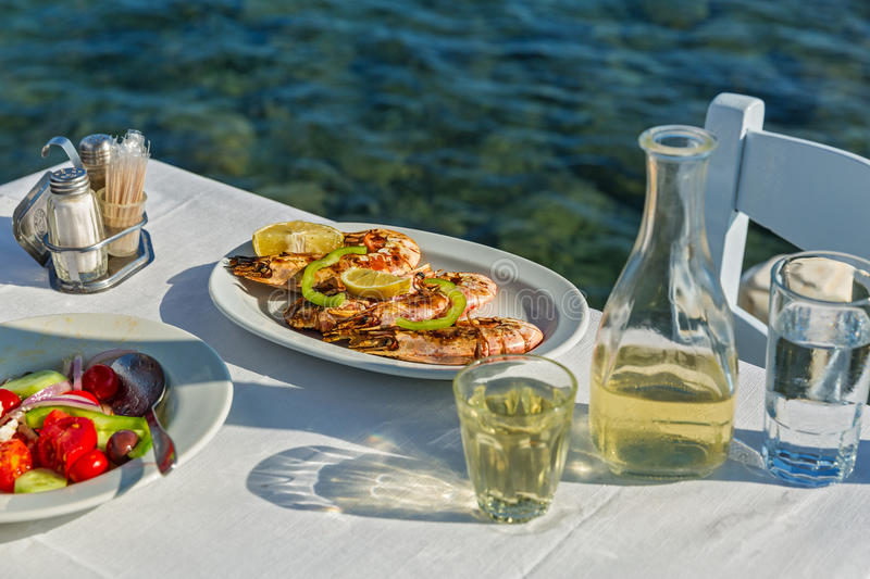 Table with food and wine royalty free stock images