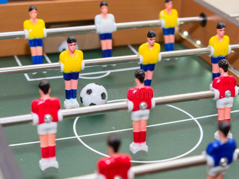 Table football detail of colorful player figurines royalty free stock photography