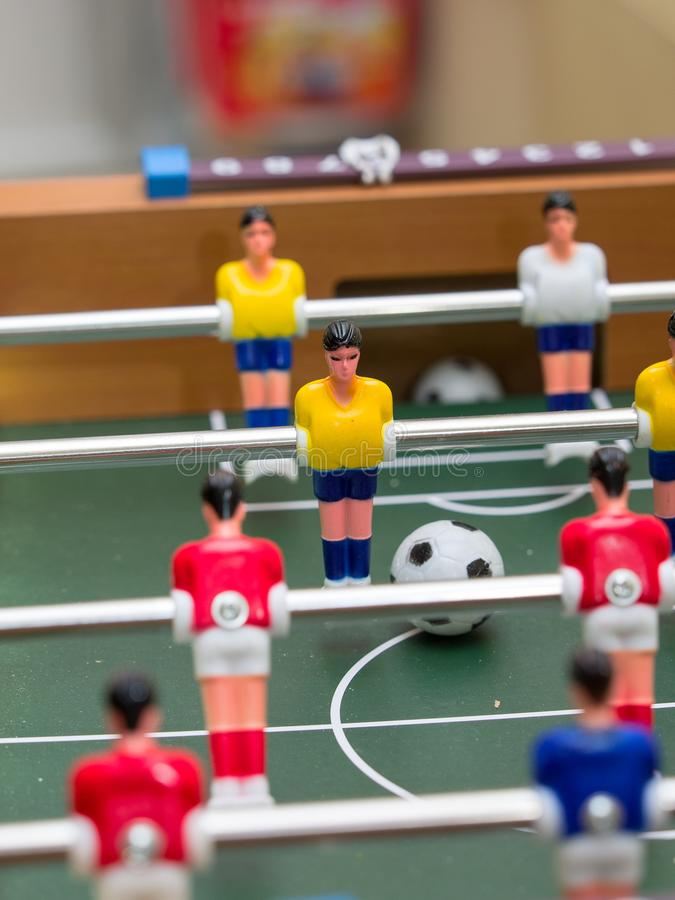 Table football detail of colorful player figurines stock images