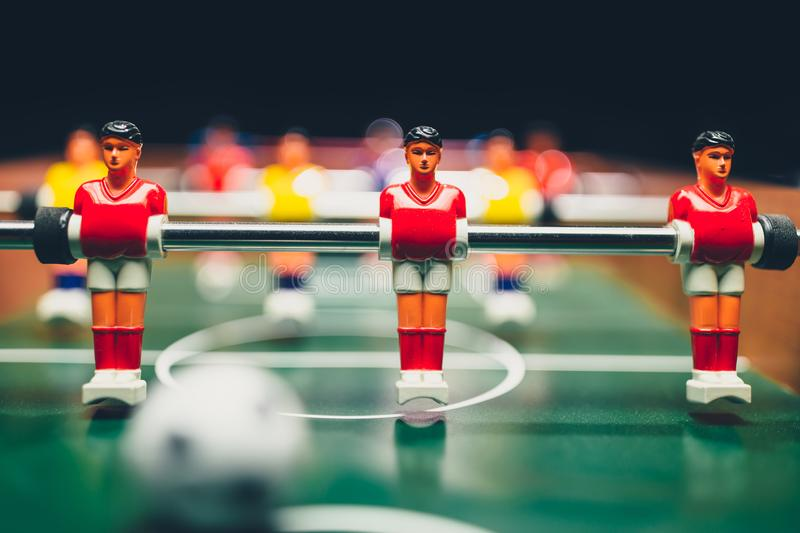 Table football soccer game players kicker. Closeup view stock photos