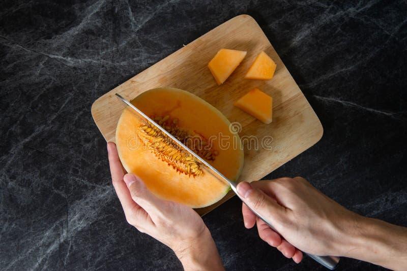 Table fraîche et délicieuse de marbre de cantaloup photographie stock libre de droits