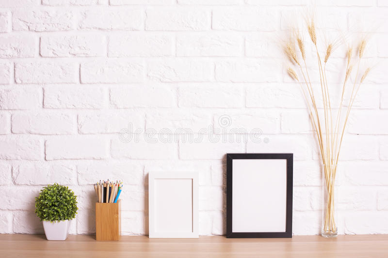 Table with frames stock photo. Image of photo, copyspace - 73564048