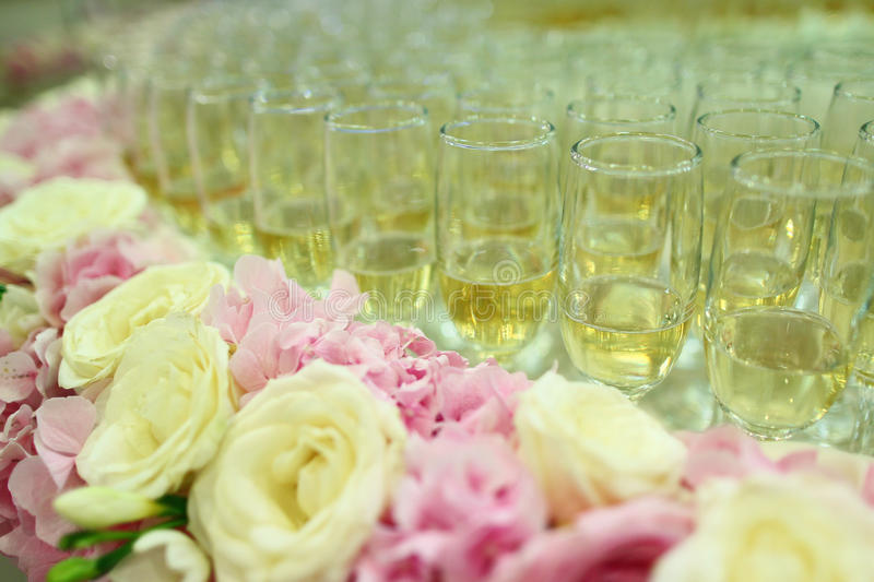 Table full with champagne glasses royalty free stock photos