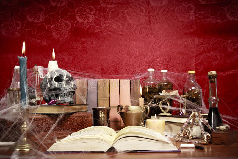 Download Table Full Of Witchcraft Related Objects Stock Photo - Image: 16378252