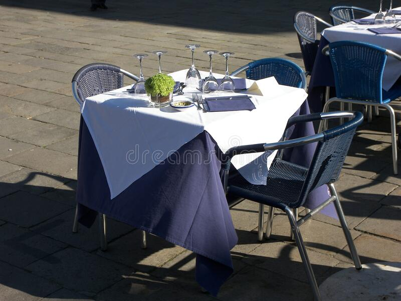 Table garden open air. Art creation related to table featuring garden open air. The artistic domain is furniture, architecture stock photo
