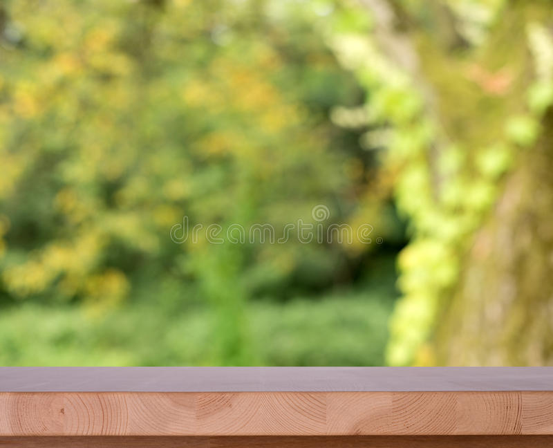 Table in garden. Shallow depht of field stock photography
