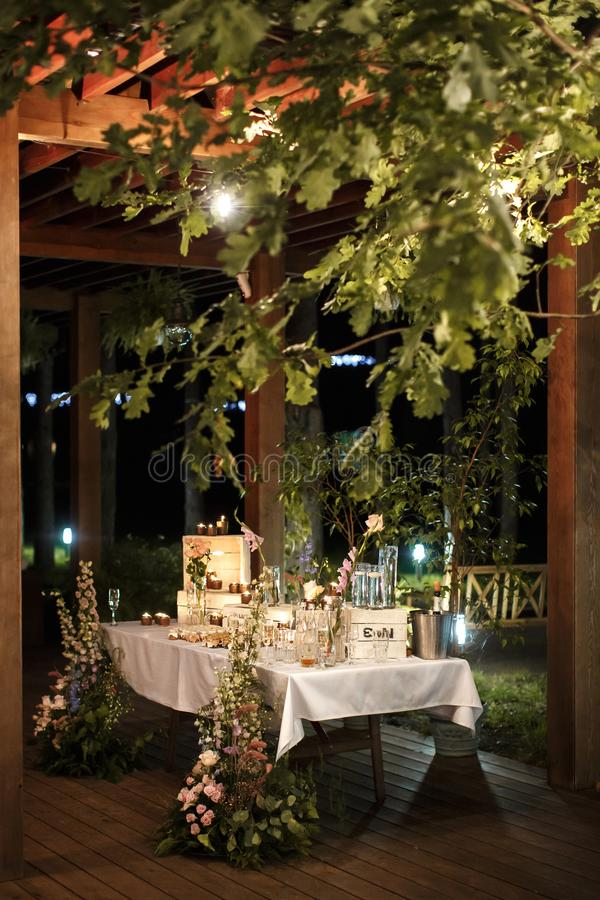 Table for gifts to guests at the wedding stock photo