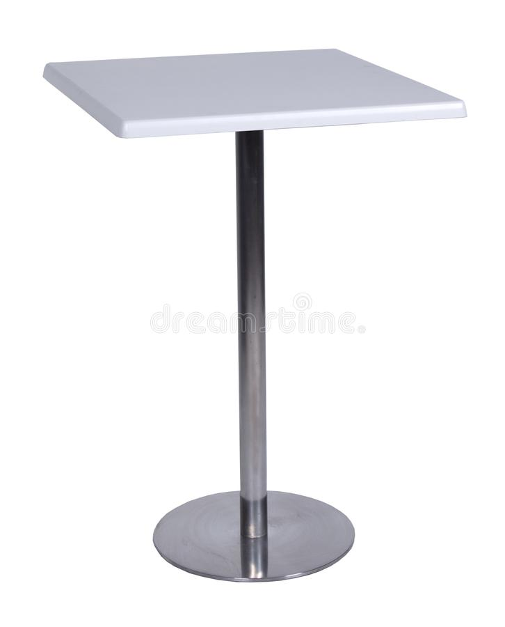 Table, glass, table-top, furniture, comfort. Isolate metal stock photography