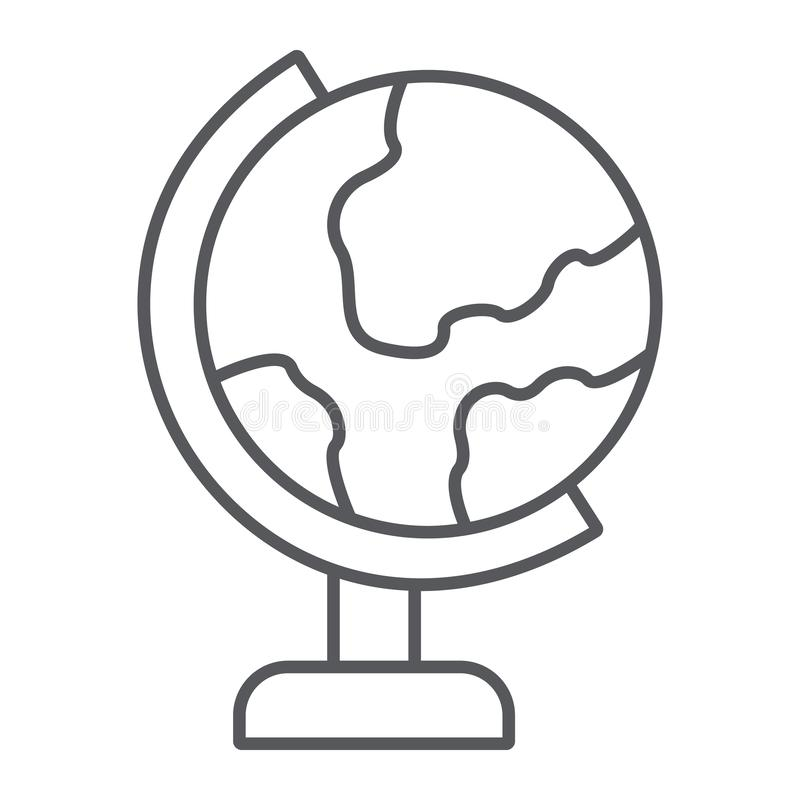 Table globe thin line icon, education and geography, world map sign, vector graphics, a linear pattern on a white stock illustration
