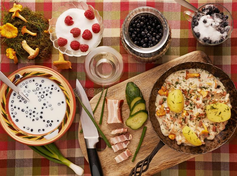 Table with healthy food. Table with many kinds of healthy food stock photos