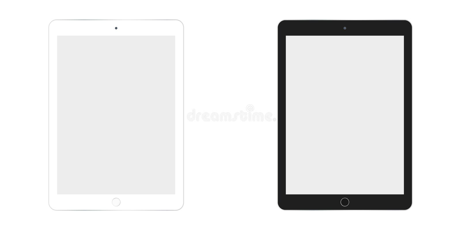 Table Ipad in white and black color vector eps10. Tablet flat style. Two  tablet white and black set. Table Ipad in white and black color vector eps10. Tablet royalty free illustration