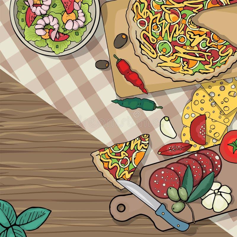 Table italienne de nourriture illustration de vecteur