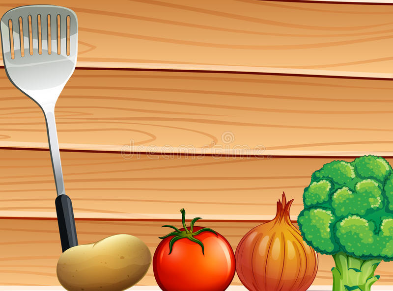 A table with a laddle and vegetables. A topview of a table with a laddle and vegetables stock illustration