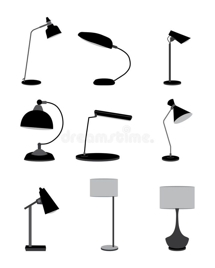 Table lamp set royalty free illustration