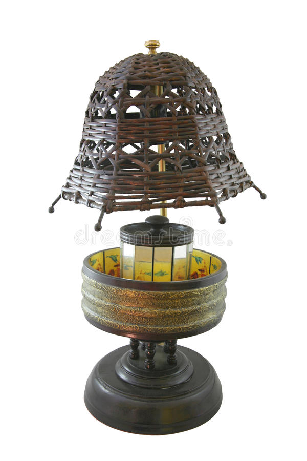 Table Lamp / White isolate. Rattan Table Lamp / White isolate stock photo