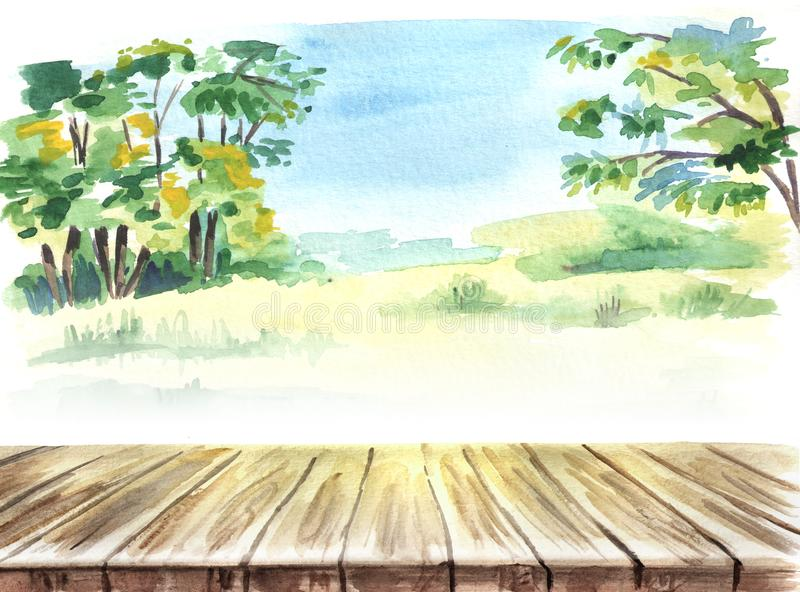 Table in a landscape. Picnic. Hand drawn watercolor template and background. stock illustration