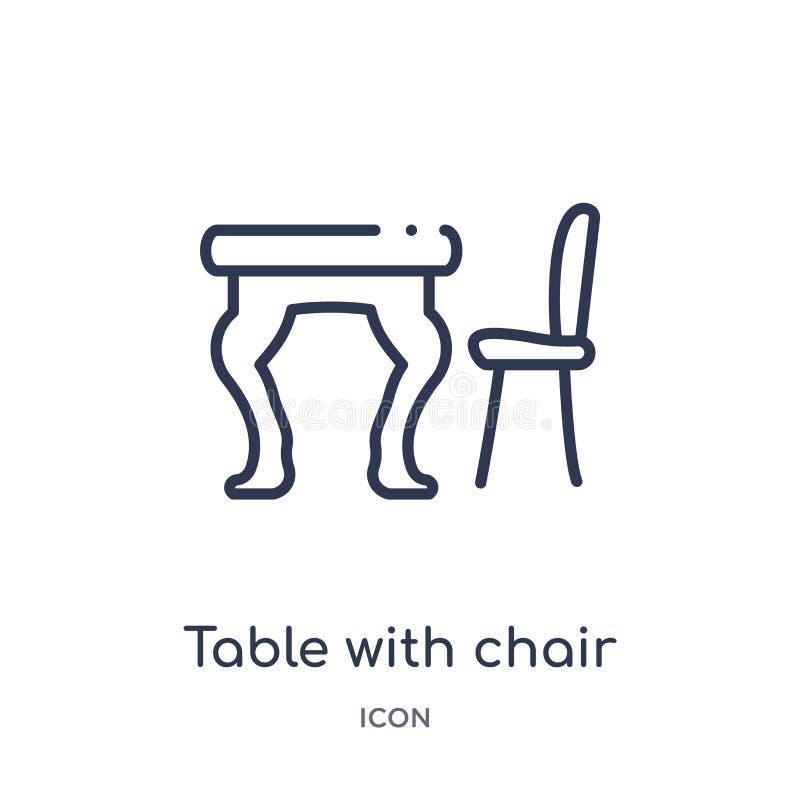 Table linéaire avec l'icône de chaise de la collection d'ensemble de meubles Ligne mince table avec l'icône de chaise d'isolement illustration stock