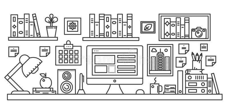 Table linéaire de bureau avec l'espace de travail d'ordinateur et tout autre équipement dans l'illustration d'intérieur de bureau illustration de vecteur