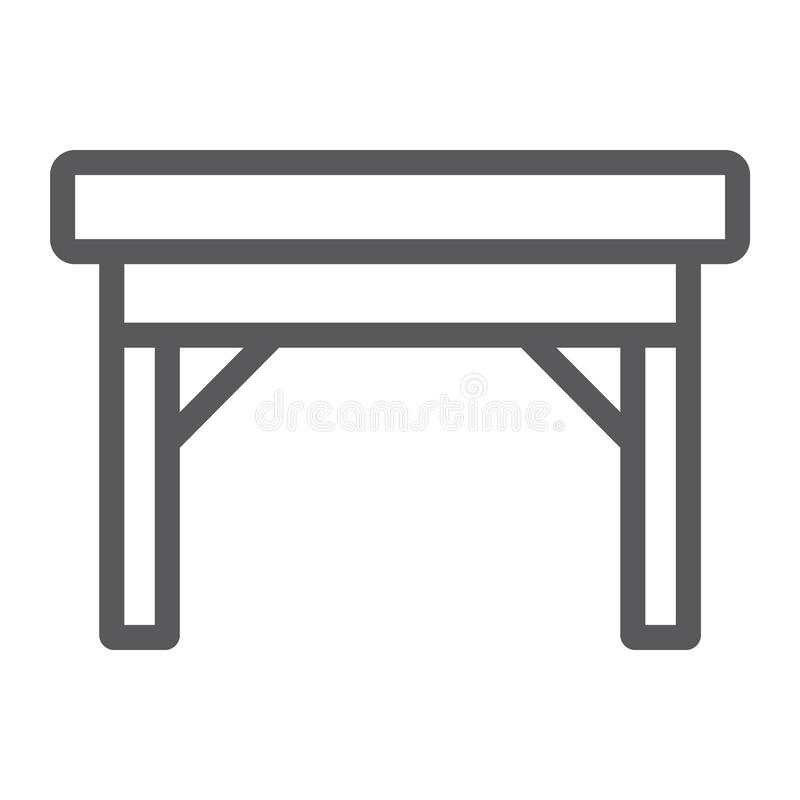 Table line icon, furniture and home, desk sign, vector graphics, a linear pattern on a white background. Table line icon, furniture and home, desk sign, vector stock illustration