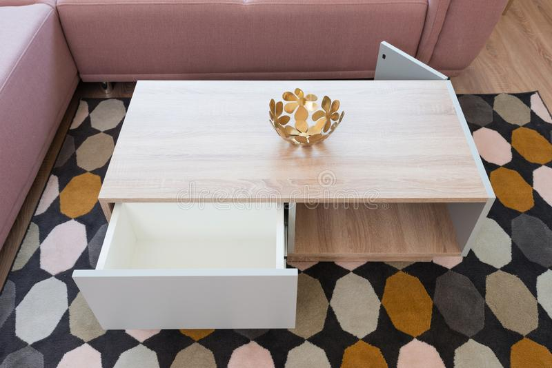 Table in living room from above. Table in contemporary living room interior stock images