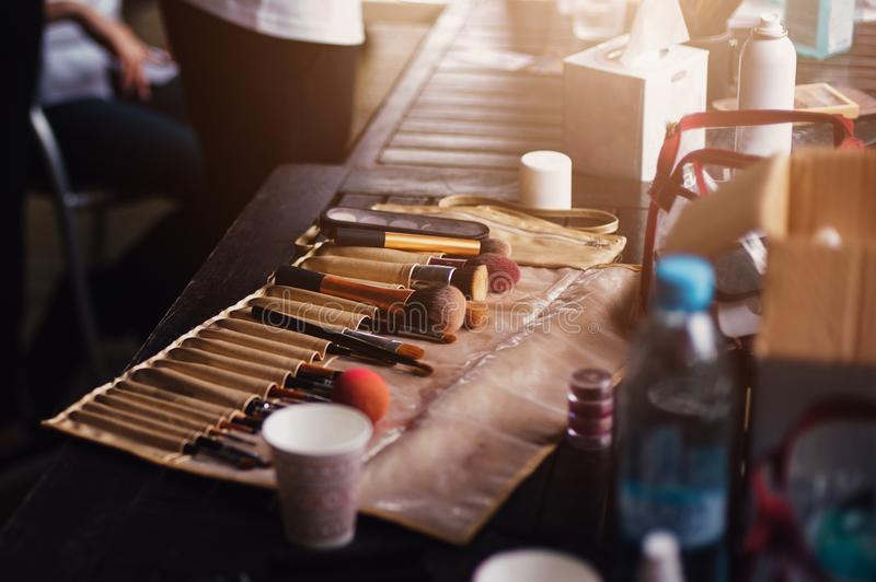 Table make-up artist at the backstage royalty free stock images