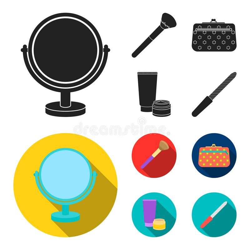 Table mirror, cosmetic bag, face brush, body cream.Makeup set collection icons in black, flat style vector symbol stock. Illustration stock illustration