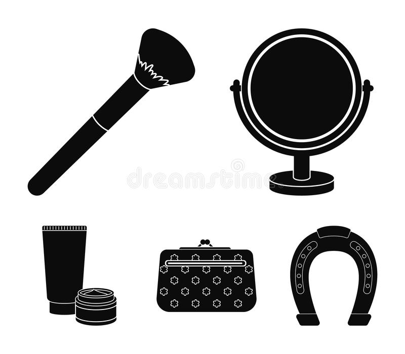 Table mirror, cosmetic bag, face brush, body cream.Makeup set collection icons in black style vector symbol stock. Illustration stock illustration