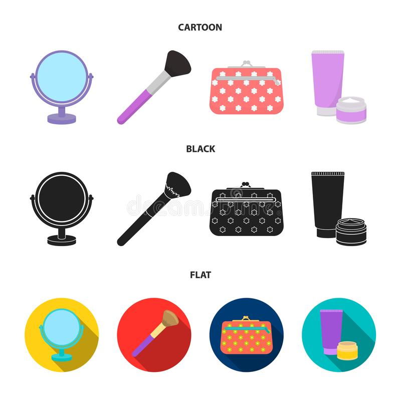 Table mirror, cosmetic bag, face brush, body cream.Makeup set collection icons in cartoon,black,flat style vector symbol. Stock illustration vector illustration