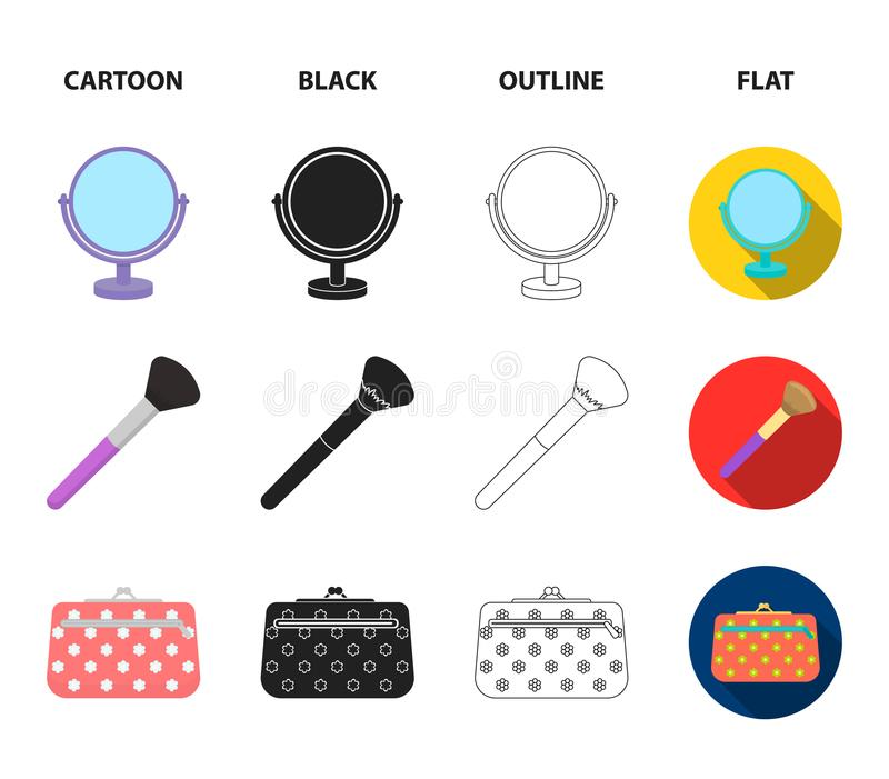 Table mirror, cosmetic bag, face brush, body cream.Makeup set collection icons in cartoon,black,outline,flat style. Vector symbol stock illustration stock illustration