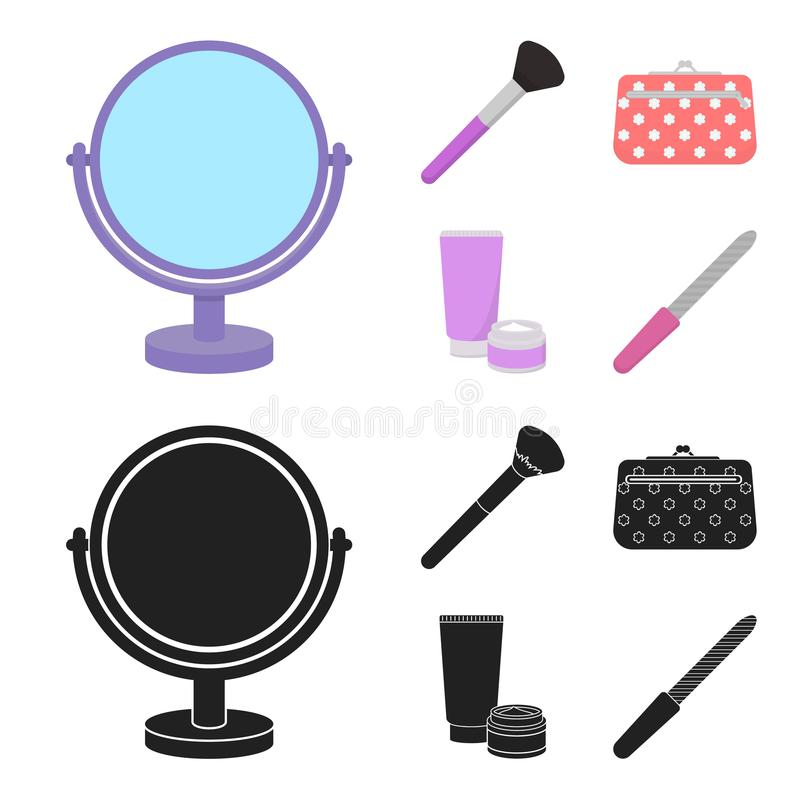 Table mirror, cosmetic bag, face brush, body cream.Makeup set collection icons in cartoon,black style vector symbol. Stock illustration royalty free illustration