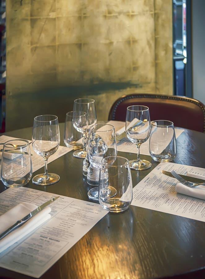Table in modern restaurant. Detail of table in modern restaurant stock image
