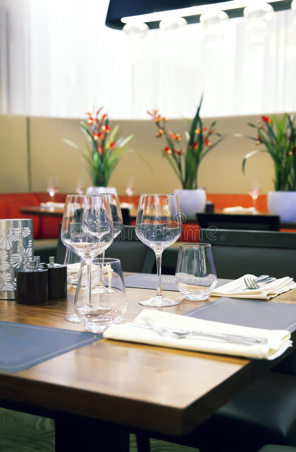 Table in modern restaurant royalty free stock photography