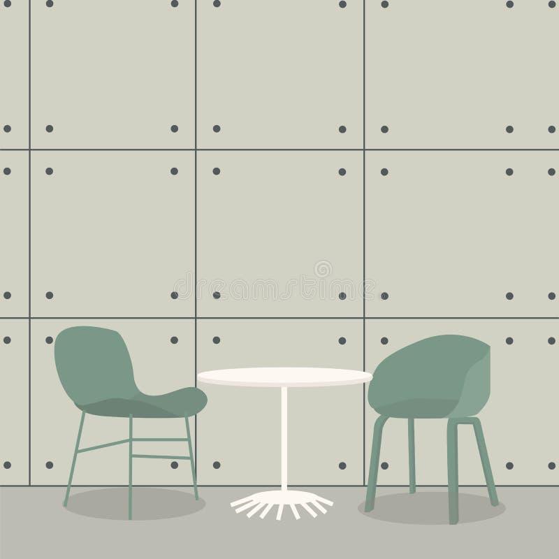 Table moderne de barre avec deux chaises sur le fond concret illustration libre de droits