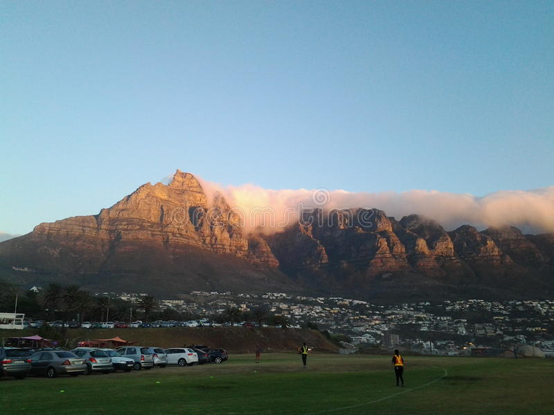 Table Mountain as sunset royalty free stock images