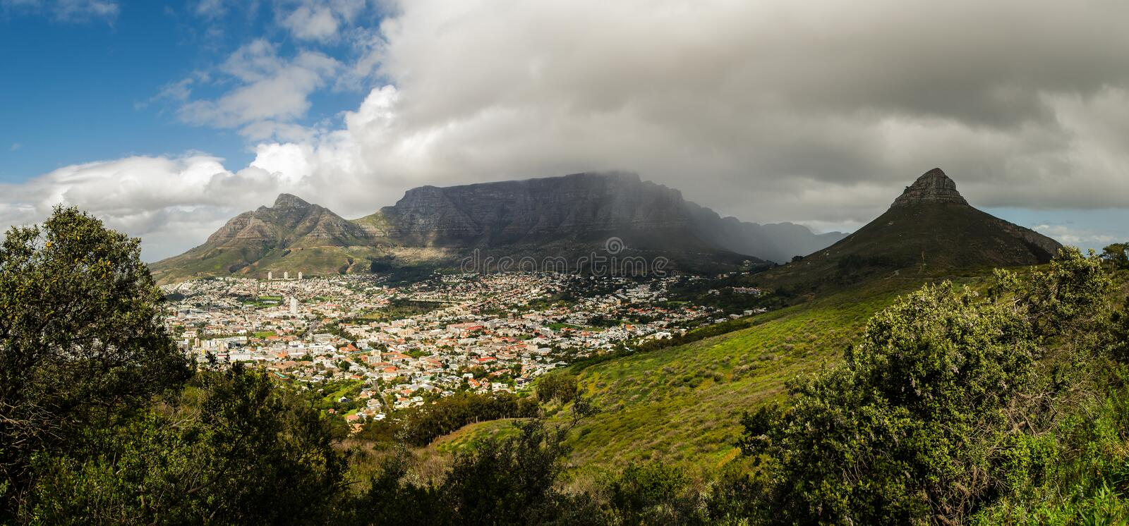 Table mountain, Cape Town, delvil`s peak, lion head panoramic landscape. South Africa. royalty free stock photography