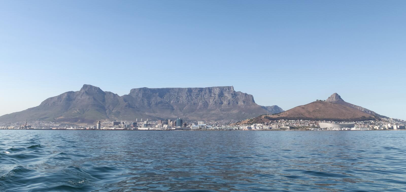 Table Mountain, Cape Town, South Africa. Photographed on a summer`s day from Robben Island. royalty free stock photos