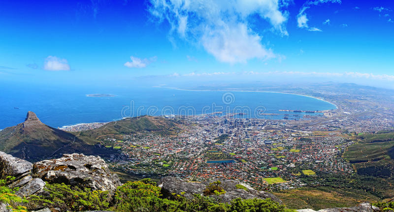Table Mountain Cape Town. A view from Cape Towns Table Mountain stock photos