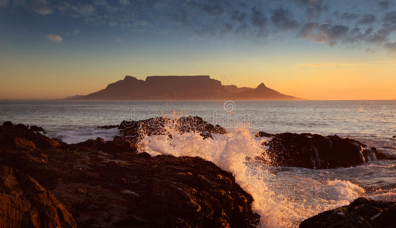 Table mountain with clouds, Cape Town stock image