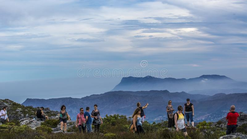 """Table Mountain. English: , Tafelberg means """"City of Cape"""". It is South Africa's Pingdingshan overlooking Cape Town and Table Bay. It stands stock photography"""