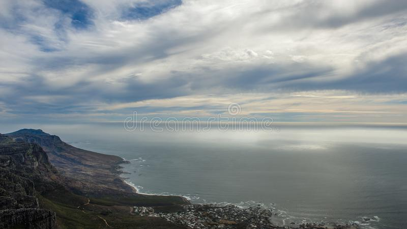 """Table Mountain. English: , Tafelberg means """"City of Cape"""". It is South Africa's Pingdingshan overlooking Cape Town and Table Bay. It stands royalty free stock photos"""
